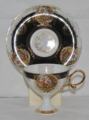 Very Unique Hand Decorated Shafford Japan Bone China Tea Cup and Saucer