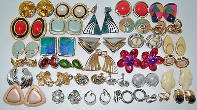 Over 30 Beautiful Vintage Clip-On and Screw-On Earrings, Lot #2