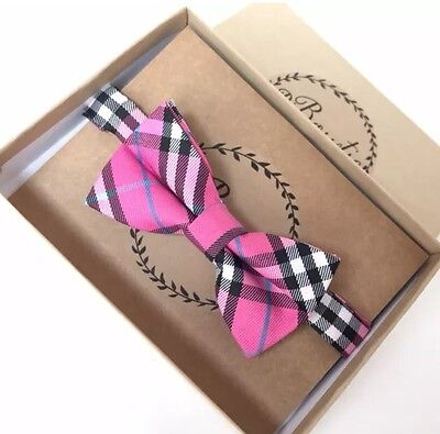 Boys new bow tie pink black plaid baby toddler kids boy wedding Easter Spring