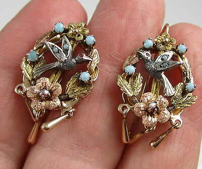 Vintage Rare 14k Yellow Gold Turquoise Pearl Bird Flower Pierced Drop Earrings