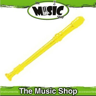 New CPK Transparent Plastic Recorder with Bag & Cleaning Rod - Yellow