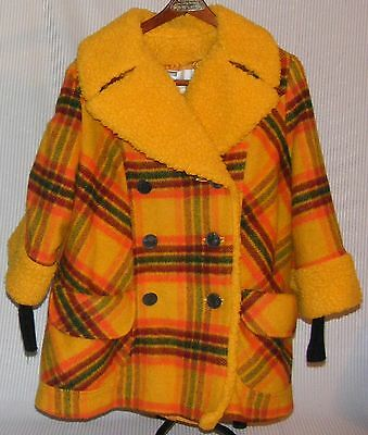 Vtg 60-70'S Youth Sz10 MONTGOMERY WARD WOOL and Faux Fur Lined CAR COAT JACKET