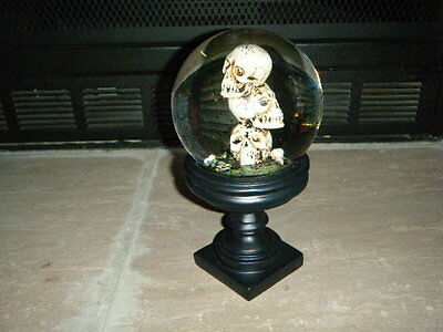 Heavy Three Stacked Skulls Bones Glass Black Snow Globe Pedestal Halloween Htf!!