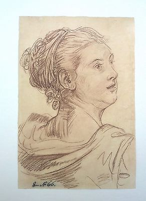 "Old Master Drawing after Jean-Baptiste Grueze ""PORTRAIT OF A WOMAN"""