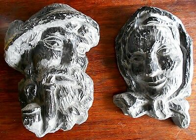 Vintage Large Hand Carved Wood Wall Plaques of Colonial Couple Busts