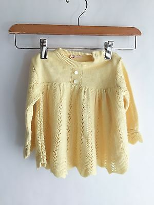 Vintage Yellow Knit Sweater Dress 1950s St. Michael Great Britain Baby Toddler