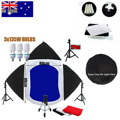 80cm cube tent Photo Photography studio 3 Soft Box Lights Backdrop Stand +Tripod