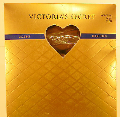 Victoria's Secret Thigh Highs Stay-Up Stockings Lace Top Hosiery Large Chocolate