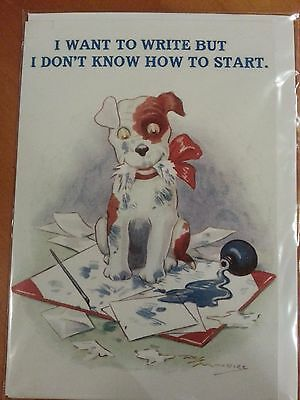 Antique reproduction Terrier DOG puppy artist postcard greeting card MINT c1920