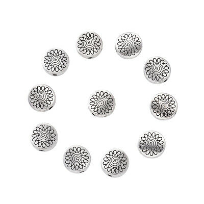 20pcs Tibetan Alloy Metal Beads Flat Round Carved Sunflower Loose Spacer 8.5mm