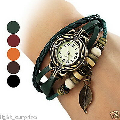 Cheapest  Bohemian Leaf Pendent Leather Weave Bracelet Cool Fashion Watch