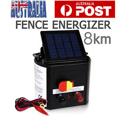 8KM Solar Electric Fence Energiser Farm Rechargeable Powered Fence Energiser AU