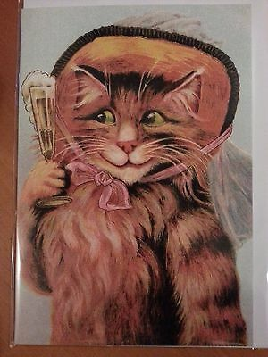 MAURICE BOULANGER antique reproduction cat CHAMPAGNE vintage greeting card MINT