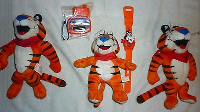 Lot Of 5 Tony The Tiger Cereal Plush Dolls Watch New Cyclometre Kellogg Cereal