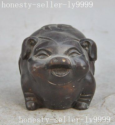 chinese fengshui bronze copper wealth zodiac Swine pig Porcine lucky rich statue