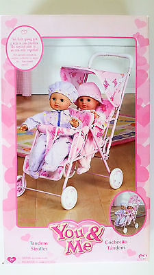 Brand New in Box Doll's Tandem Twin Baby Double Seater Stroller Pram Kids Toys