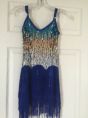 Girls Dance Dress With Sparkles Latin Show Ballroom Size Ages 6-8