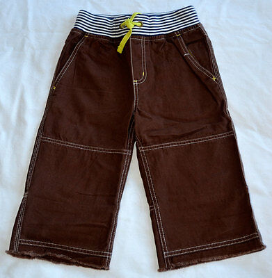 Mini Boden Adventure Shorts Boys 8Y Cutoffs Brown Elastic Waist Drawstring