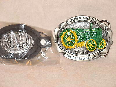"John Deere Painted ""d"" Tractor Belt Buckle 1999 Model D Key Chain"