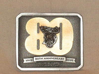 John Deere 80Th Anniversary Columbus Branch 1992 Belt Buckle Tractor Never Worn
