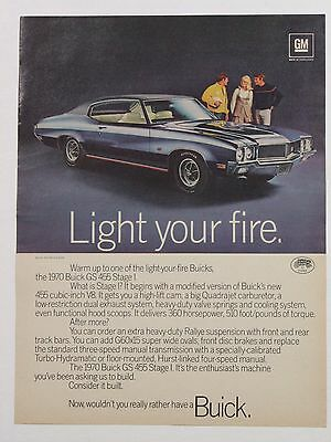 1970 Buick GS 455 Stage I Full One Page Print Advertisement