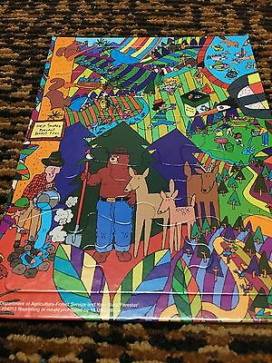 RARE!! Vintage SMOKEY THE BEAR Framed Tray Puzzle Psychedelic GREAT CONDITION!!