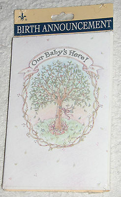New Baby Announcements 8 Little Sprout Cards & Envelopes Sealed Retired Gibson