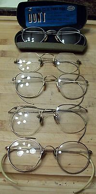Old Lot Of 12 Kt Gf Eyeglasses Glasses B & L Ful View Yellow Gold Vintage Frames