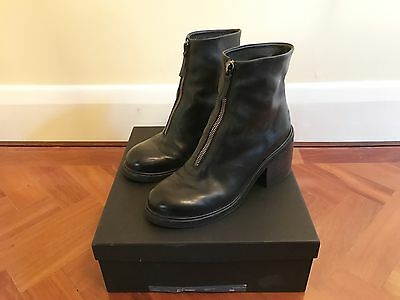 Marsell Black Leather Ankle Boots / Size 39