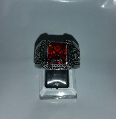 Men's Vintage Stainless Red Crystal Ring Claw Stone Band Ring Size 14