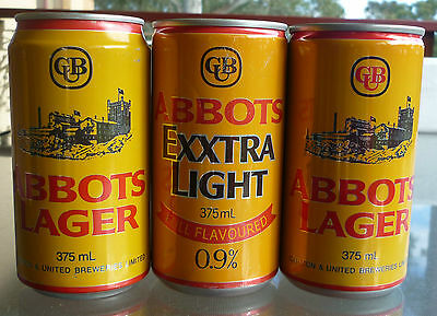 Collectable beercans -  Set of 3 Abbotts 375ml Lager/Exxtra Light cans