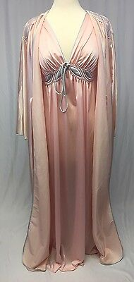 Vintage Lorraine Nightgown Robe Set Size Medium Nylon Gown Full Length Pink