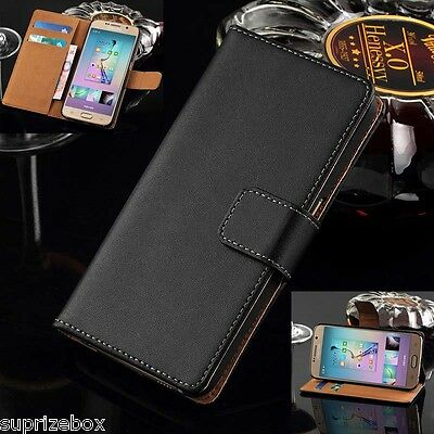 Genuine Real Leather Wallet Card Stand Case Cover for Samsung Galaxy S6 EDGE