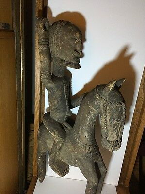 """Dogon Warrior On Horse Wooden 27"""" H."""