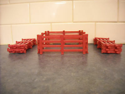 Lot Breyer Stablemate Farm 12 Red Fences Paddock Playset Miniature Dollhouse