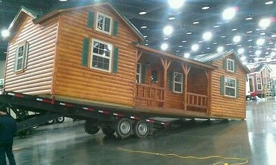 "Amish built log sided cabin, pre-built/delivered 14' X 40' ""Cumberland"" model"