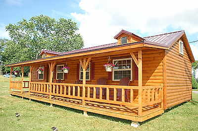 Amish log sided cabin delivered built, Appalachian 14'x40', front covered porch