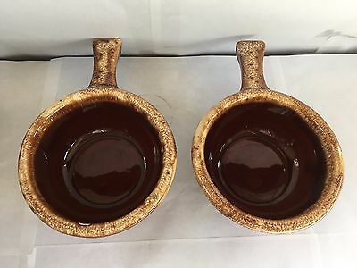 Vintage Lot 2 Hull Oven Proof Brown Drip Art Pottery Handled Soup Bowls Usa