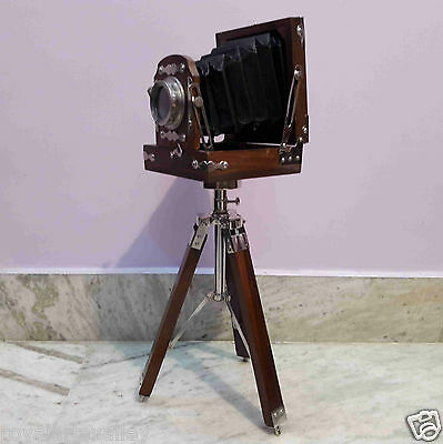Antique Style Vintage Old Camera With Tripod Decorative Model Home Decor