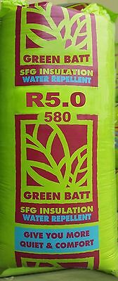 R5.0 Thermal Ceiling & Roof Insulation Glasswool Green Batts: 580mm width