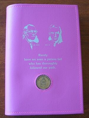 Alcoholics Anonymous AA Big Book LARGE PRINT Founders Pink Cover Medallion Hold