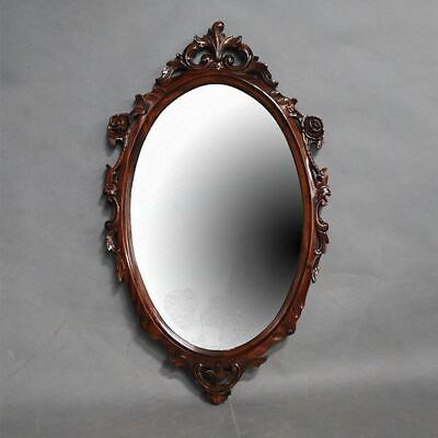 Large Oval Wall Mirror Bevelled Solid Mahogany Hand Carved Wood Antique Style