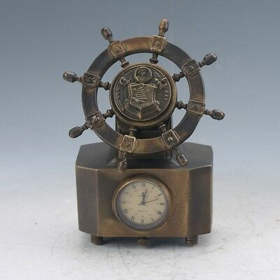 Collectible Old Chinese Brass Handwork Mechanical Desk Clock