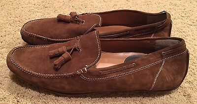 Men's Rodney T. Hunt Brown Leather Slip-on Driving Loafers Size 14 EUC