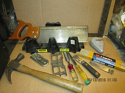 lot of vintage carpenter tools hammer mitre box saw chisels saw set scrapers etc
