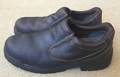 Men's Timberland Pro Safety Steel Toe Brown Leather Slip-on  Loafers Size 15 EUC