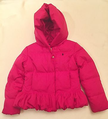 Polo Ralph Lauren Girls Pink Down Hooded Puffer Jacket Coat Jacket Sz Medium