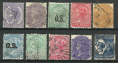 SOUTH AUSTRALIA Collection 10 Different COLONIES STATES Stamps Used (Lot 6)