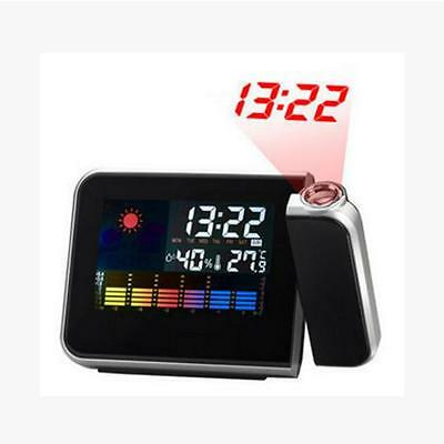 Digital LCD Projection Weather  Snooze Alarm Clock with Colorful LED Backlight