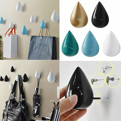Water Drop Design Hooks Wooden Wall Hangers Home Decor Coat Hat Holder AU